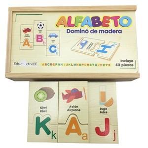 Imagen de Dominó de madera, 52 piezas, alfabeto