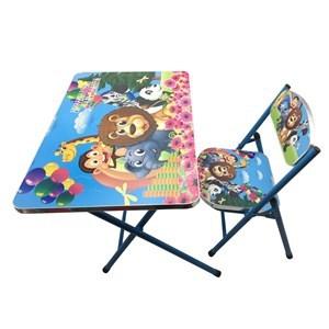 Imagen de Mesa y silla plegable, madera y metal AZUL, varios diseños en caja