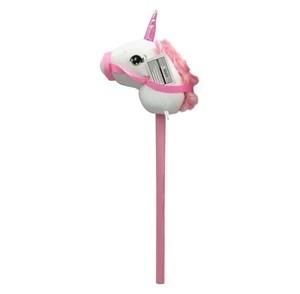 Imagen de Cabeza de caballito unicornio BLANCO con riendas, con sonido, palo para montar, 2 colores