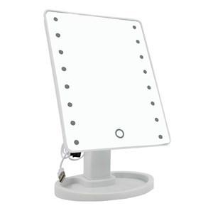 Imagen de Espejo móvil con pie 17x22cm, aro con luz, 16 led, 4AA, USB, en caja, 3 colores