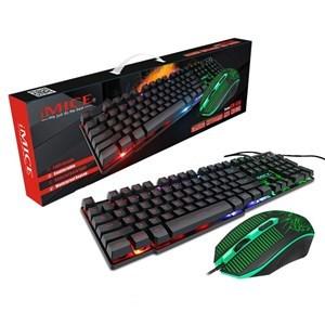 Imagen de Mouse óptico y teclado retroiluminado KM-680 IMICE, en caja