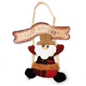Imagen de Adorno navideño de tela con cartel, para colgar en bolsa