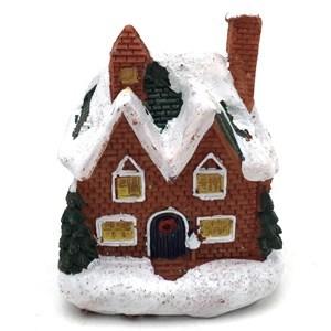 Imagen de Adorno navideño, casa de resina, con luz, en caja