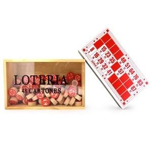 Imagen de Lotería, 48 cartones con fichas de madera, en caja de madera