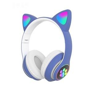 Imagen de Auricular vincha plegable AZUL, bluetooth micrófono, con luz, en caja