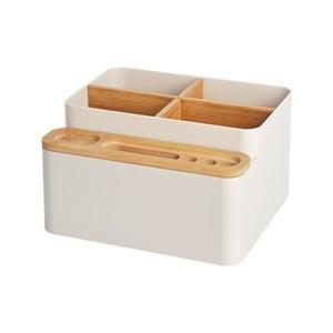 Imagen de Organizador de plástico y bambú, para cosméticos, escritorio