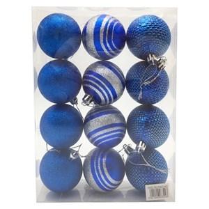 Imagen de Bolas navideñas x12 6cm, AZUL 3 diseños, en caja de mica
