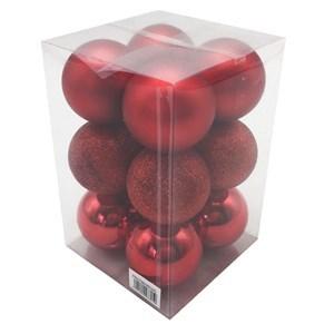 Imagen de Bolas navideñas x12 6cm, ROJO 3 texturas, en caja de mica