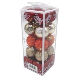 Imagen de Adorno navideño y bolas x20, surtidos, en caja de mica