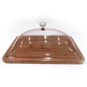 Imagen de Cubre tortas de acrílico y bambú en caja
